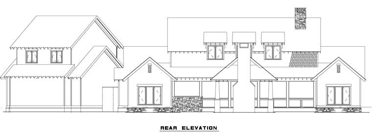 Country Craftsman Farmhouse Rear Elevation of Plan 82085