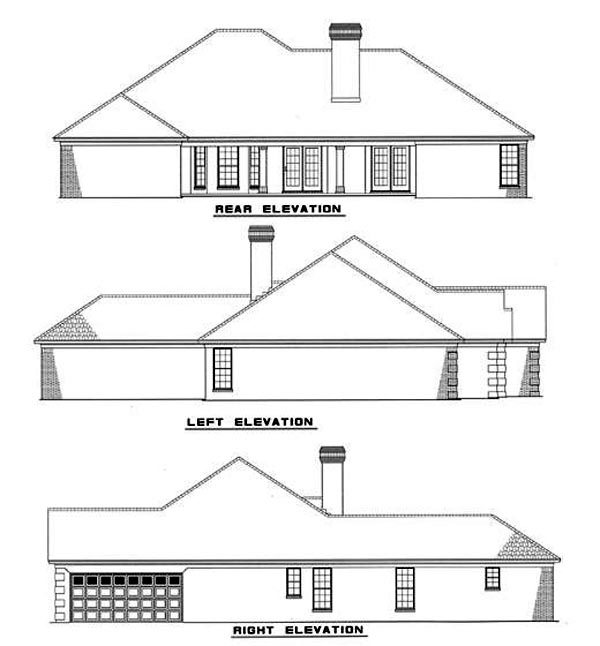 European Rear Elevation of Plan 82088