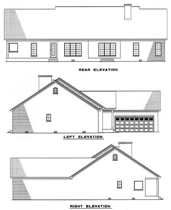 Ranch Traditional House Plan 82096 Rear Elevation