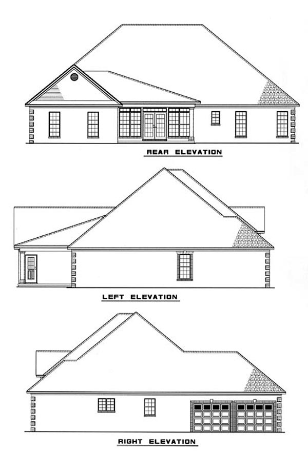 Colonial European House Plan 82097 Rear Elevation
