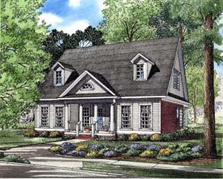 Cape Cod, Colonial House Plan 82099 with 3 Beds, 3 Baths, 2 Car Garage Elevation