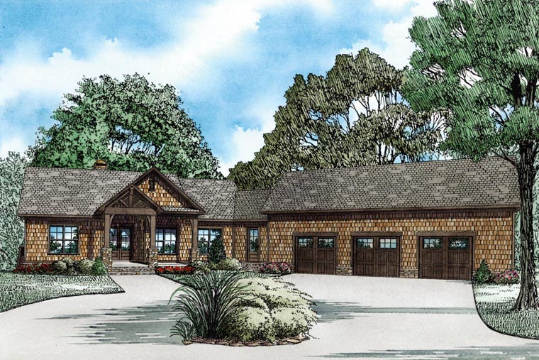 Country, Craftsman House Plan 82100 with 4 Beds , 4 Baths , 3 Car Garage Elevation
