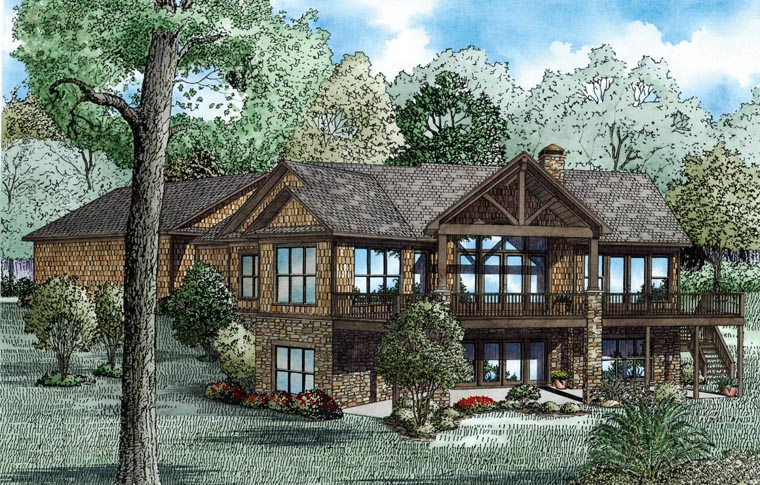 Country, Craftsman House Plan 82100 with 4 Beds , 4 Baths , 3 Car Garage Rear Elevation