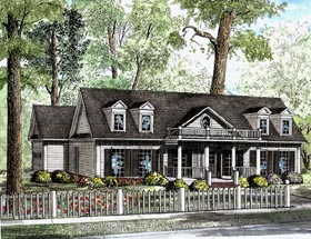 House Plan 82104 | Cape Cod Colonial Country Style Plan with 1683 Sq Ft, 3 Bedrooms, 2 Bathrooms, 2 Car Garage Elevation
