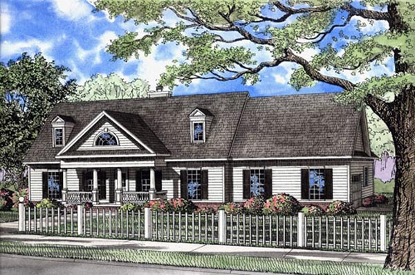 Colonial Ranch Traditional House Plan 82108 Elevation