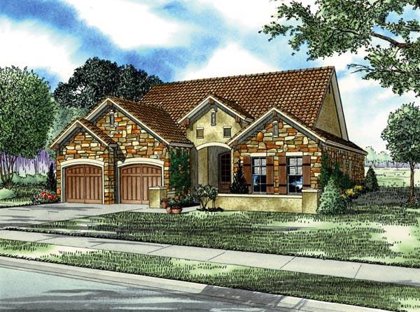 Italian, Mediterranean House Plan 82110 with 3 Beds, 2 Baths, 2 Car Garage Elevation