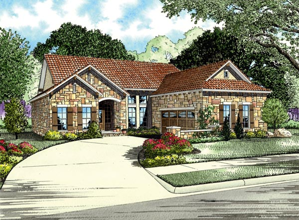 Italian, Mediterranean House Plan 82111 with 3 Beds, 2 Baths, 2 Car Garage Front Elevation