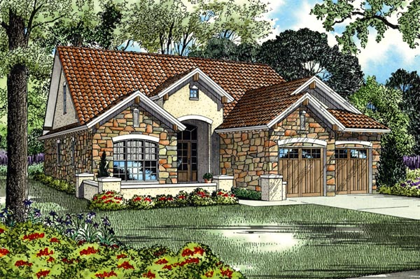 Italian Mediterranean Tuscan Elevation of Plan 82112