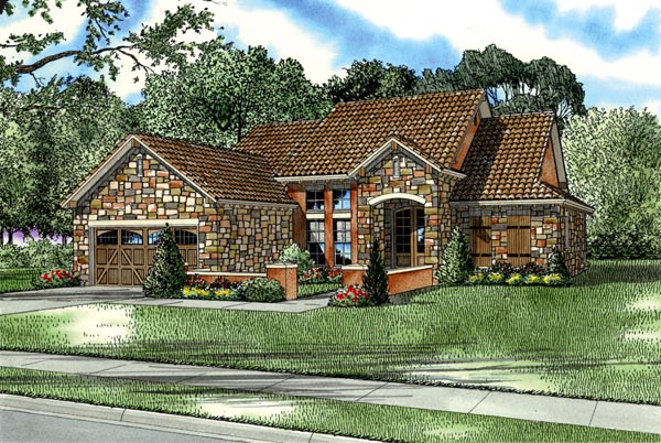 Craftsman, Italian, Mediterranean House Plan 82113 with 3 Beds, 2 Baths, 2 Car Garage Elevation