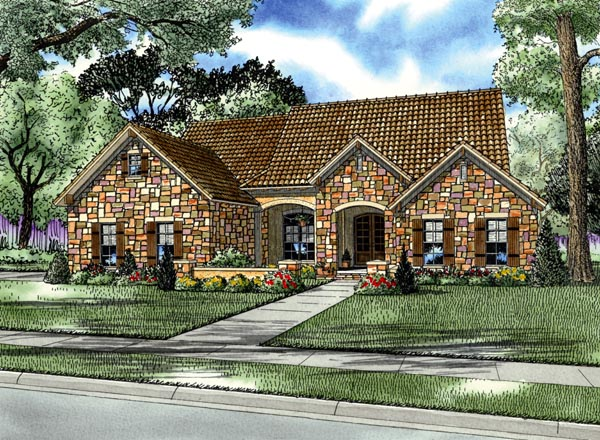 Italian, Mediterranean, Tuscan House Plan 82114 with 4 Beds, 2 Baths, 2 Car Garage Elevation