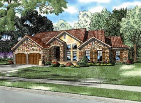 House Plan 82115 | Italian Mediterranean Tuscan Style Plan with 2507 Sq Ft, 4 Bedrooms, 3 Bathrooms, 2 Car Garage Elevation