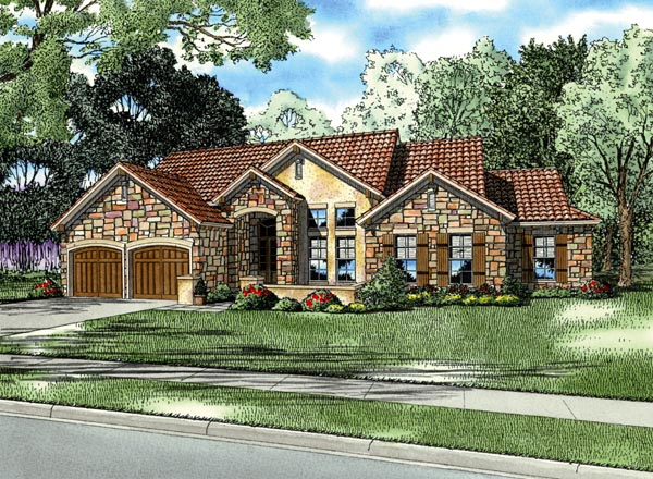 Italian Mediterranean Tuscan House Plan 82115 Elevation