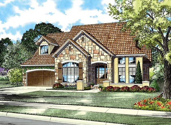 Italian , Mediterranean , Tuscan House Plan 82116 with 3 Beds, 3 Baths, 2 Car Garage Elevation