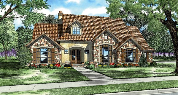 Italian Mediterranean Tuscan House Plan 82118 Elevation