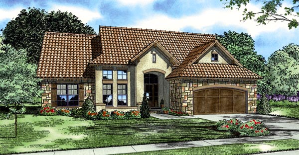 Italian, Mediterranean, Tuscan House Plan 82119 with 4 Beds, 5 Baths, 2 Car Garage Front Elevation
