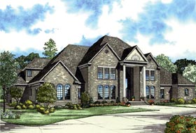European House Plan 82121 with 3 Beds, 7 Baths, 3 Car Garage Elevation