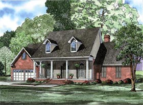 Cape Cod , Colonial , Country House Plan 82122 with 4 Beds, 3 Baths, 2 Car Garage Elevation