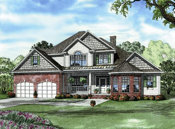 Country Craftsman European Elevation of Plan 82125