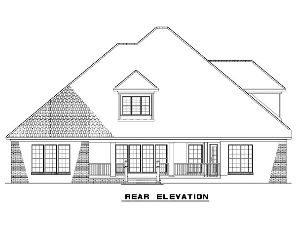 Country Craftsman European Rear Elevation of Plan 82125