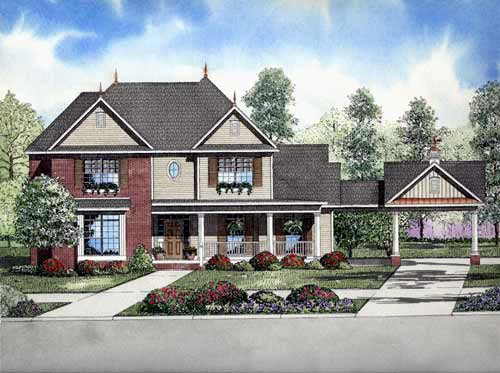 Colonial, European House Plan 82136 with 4 Beds, 3 Baths, 2 Car Garage Elevation