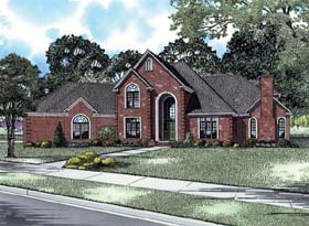 European House Plan 82141 with 4 Beds, 4 Baths, 3 Car Garage Elevation