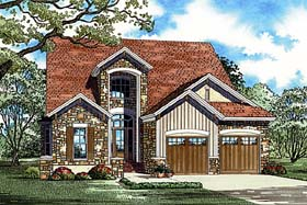 House Plan 82148 | Craftsman Style Plan with 2410 Sq Ft, 2 Bedrooms, 3 Bathrooms, 2 Car Garage Elevation