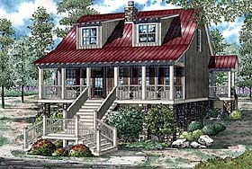House Plan 82152 | Coastal Style House Plan with 1451 Sq Ft, 3 Bed, 2 Bath Elevation