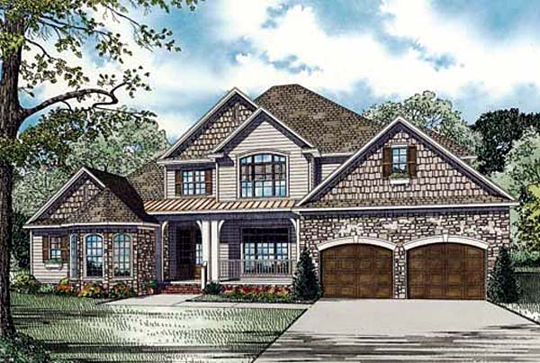 Craftsman House Plan 82154 with 4 Beds, 3 Baths, 2 Car Garage Elevation