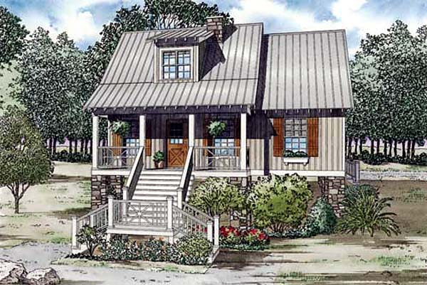 Coastal House Plan 82157 with 3 Beds, 2 Baths Elevation