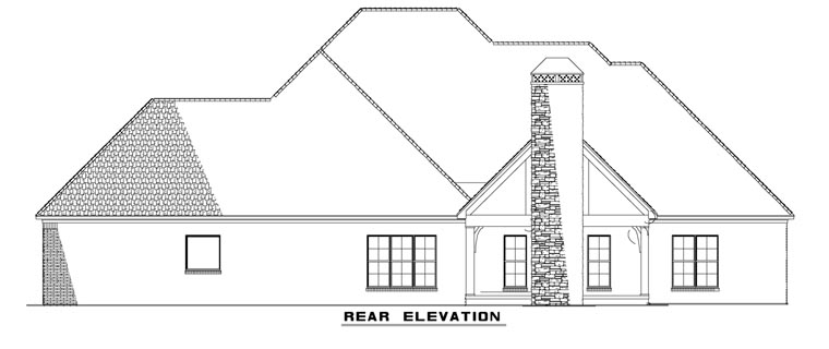Craftsman European Ranch Tudor House Plan 82162 Rear Elevation