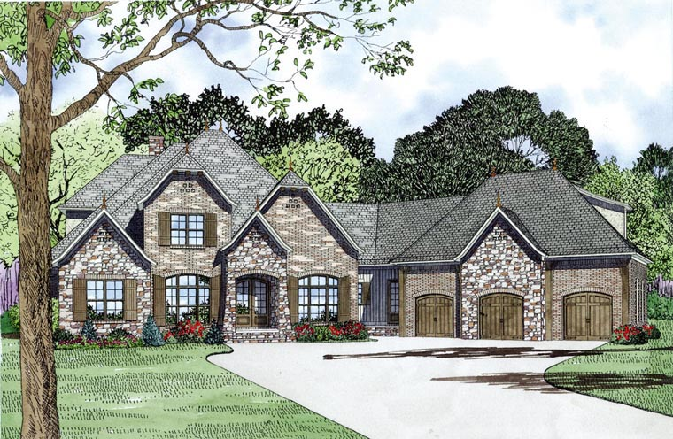 Craftsman European French Country House Plan 82164 Elevation