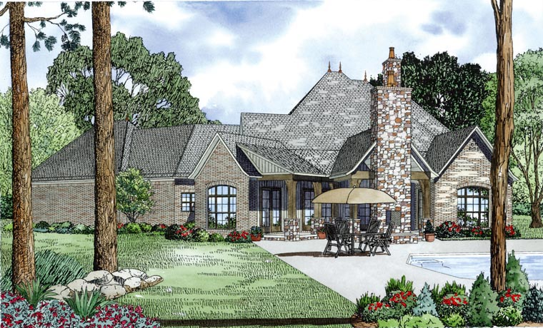 Craftsman European French Country House Plan 82164 Rear Elevation