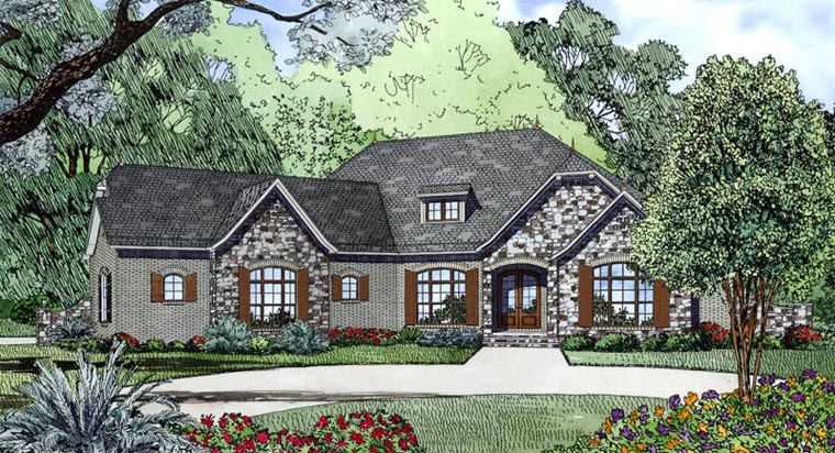 Contemporary House Plan 82171 with 4 Beds, 3 Baths, 2 Car Garage Elevation