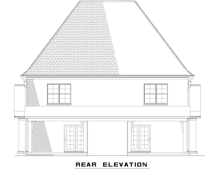 Tudor Multi-Family Plan 82173 Rear Elevation