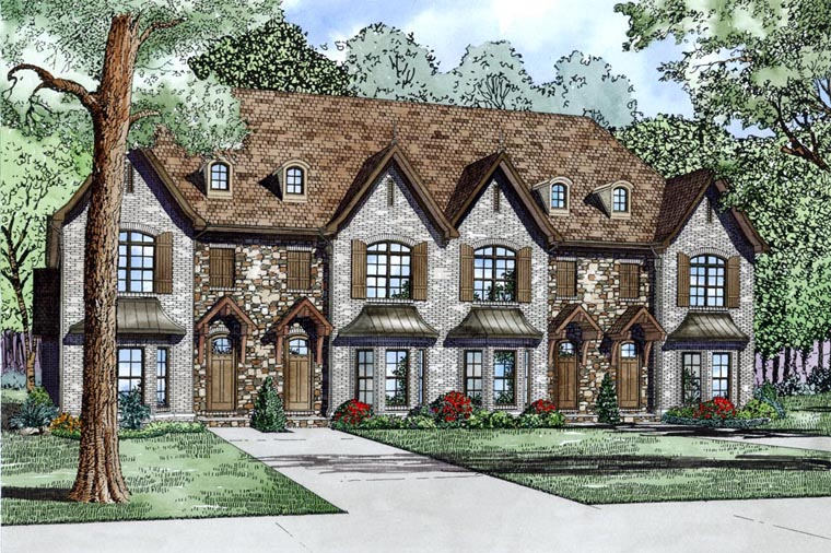 Tudor Multi-Family Plan 82175 with 8 Beds, 12 Baths Elevation