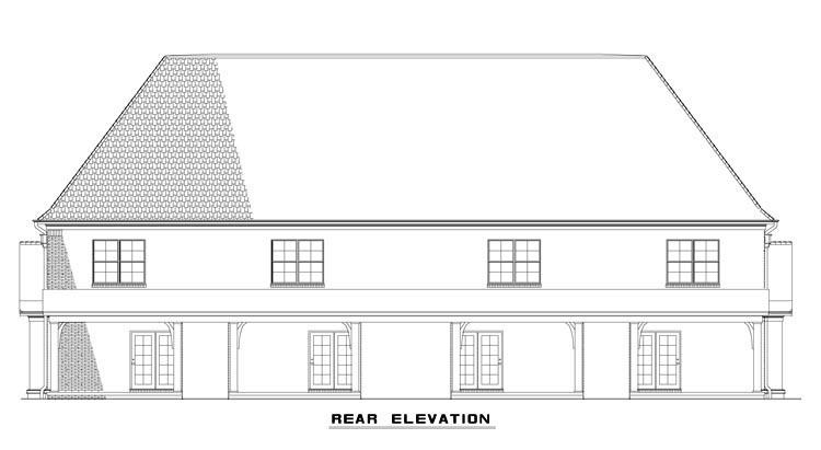 Tudor Multi-Family Plan 82175 Rear Elevation