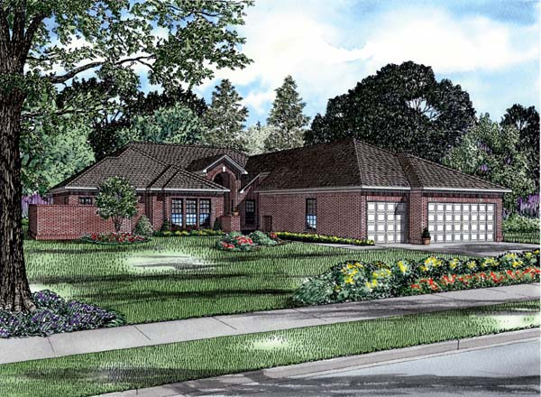 House Plan 82198 with 4 Beds , 3 Baths , 3 Car Garage Elevation