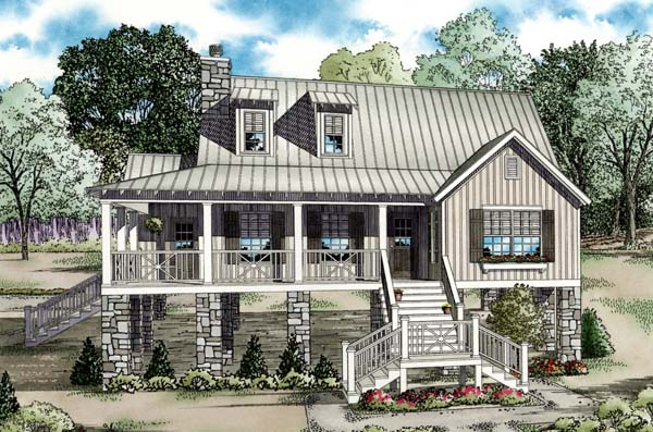Coastal, Cottage, Southern House Plan 82202 with 4 Beds, 2 Baths Elevation