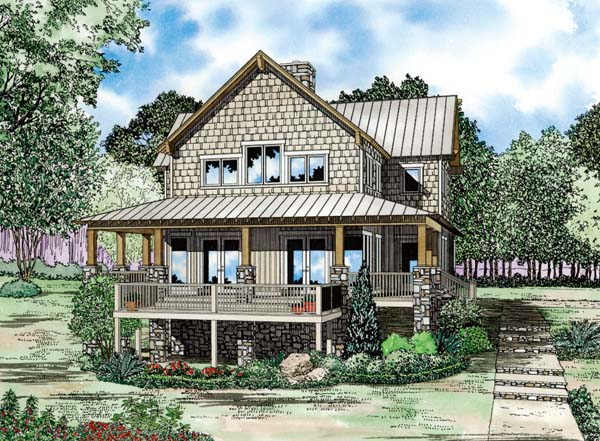 Country, Craftsman House Plan 82208 with 4 Beds, 3 Baths, 2 Car Garage Elevation