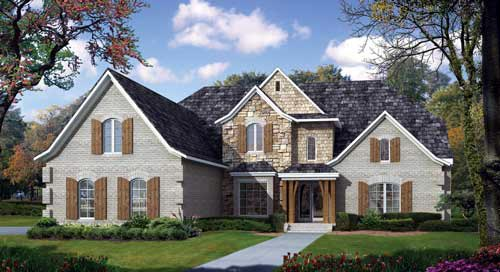 European House Plan 82211 with 3 Beds, 5 Baths, 4 Car Garage Elevation