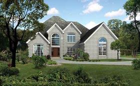 European House Plan 82214 with 4 Beds, 4 Baths, 2 Car Garage Elevation