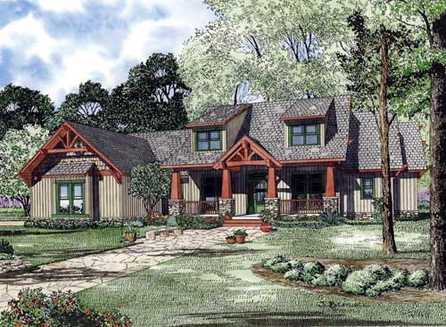 Country, Craftsman, Tudor House Plan 82217 with 4 Beds, 3 Baths, 3 Car Garage Elevation