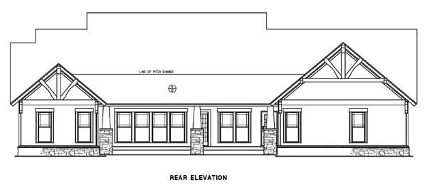 Country Craftsman Tudor Rear Elevation of Plan 82217