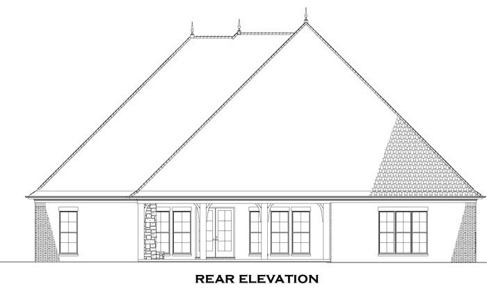 House Plan 82229 with 3 Beds, 3 Baths, 3 Car Garage Rear Elevation