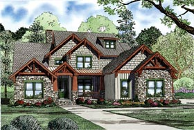 European House Plan 82231 with 4 Beds, 3 Baths, 3 Car Garage Elevation