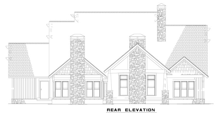 European , Rear Elevation of Plan 82231