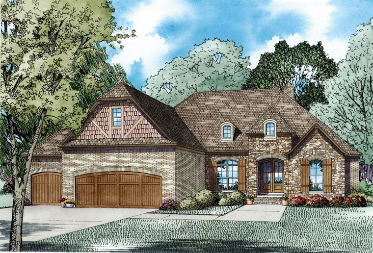 Craftsman European French Country Elevation of Plan 82236