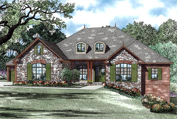 Country, European, Traditional House Plan 82246 with 4 Beds, 3 Baths, 3 Car Garage Front Elevation