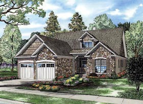 House Plan 82250 | Country Craftsman European Style Plan with 1588 Sq Ft, 3 Bedrooms, 3 Bathrooms, 2 Car Garage Elevation