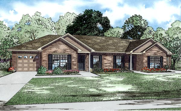 Traditional Multi-Family Plan 82253 Elevation